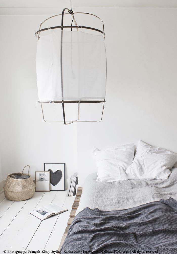 A relaxed, effortlessly chic white & grey bedroom
