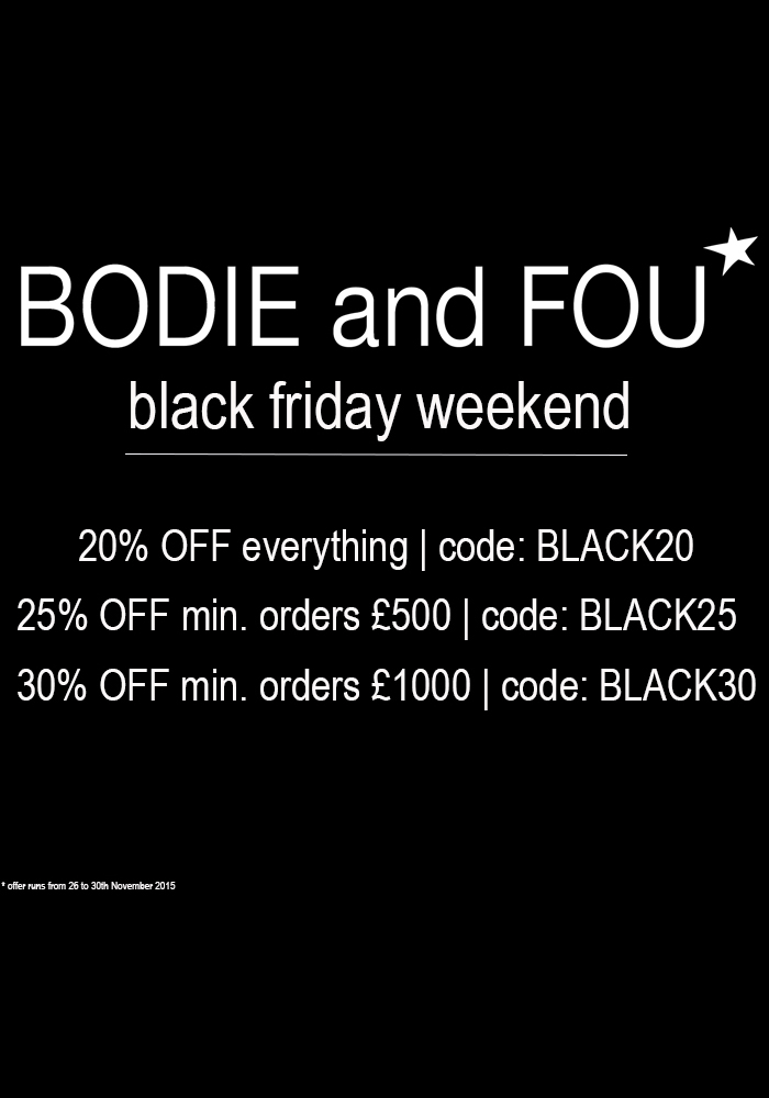 BODIE and FOU Black Friday Cyber Monday offer. Get up to 30% OFF the whole collection including sale items