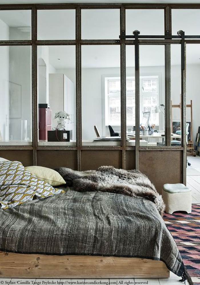 gorgeous bedroom with industrial windows. Read on www.karinecandicekong.com