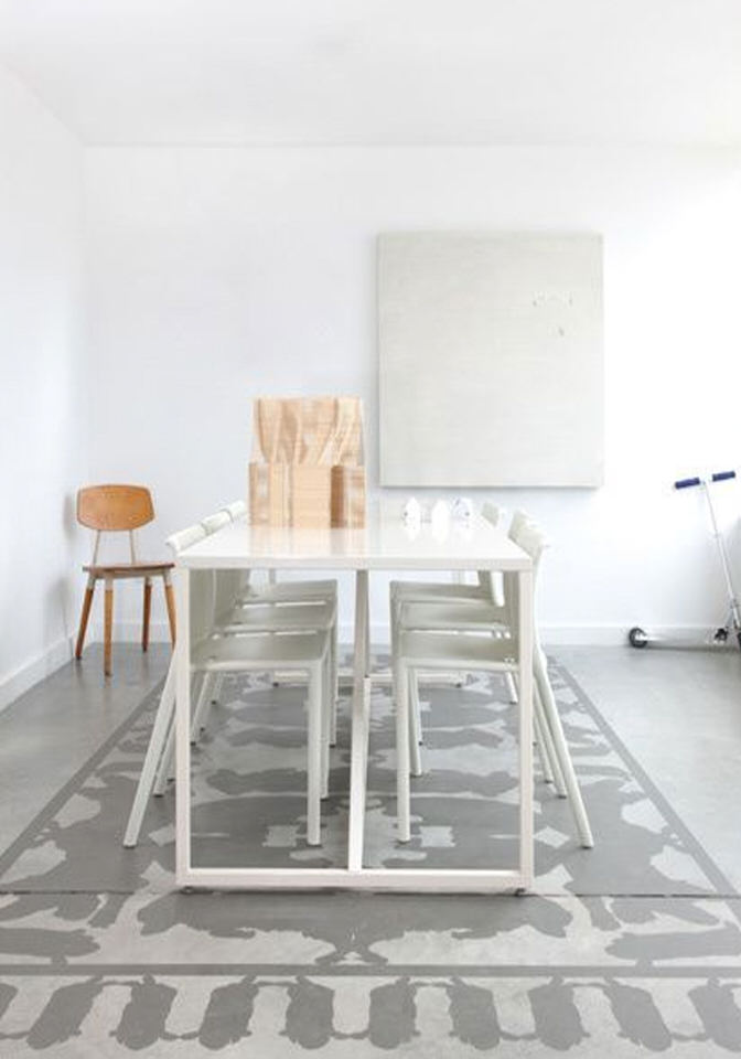 DETAILS | Painted rug on concrete floor
